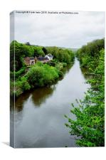 Looking down the River Severn from Ironbridge, Canvas Print