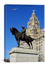Statue, Edward VII set against the Liver Buildings, Canvas Print