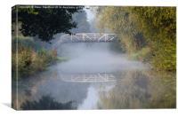 Canal bridge in the mist , Canvas Print