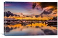 Torquay Marina Sunset., Canvas Print