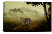 Leopard surprised in the forest, Canvas Print