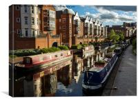 Birmingham Canal and Barges, Canvas Print