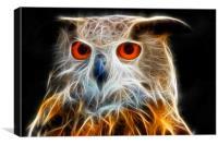 Owl fractal art, Canvas Print