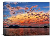 Sunset over Lake Maggiore from  Stresa         , Canvas Print