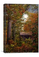"""Little hut in the Autumn wood"", Canvas Print"