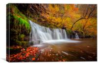 Autumn Waterfall, Brecon Beacons, Wales, Canvas Print