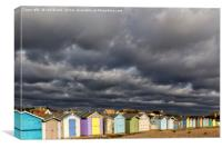 Ferring Beach Huts Under a Brooding Sky, Canvas Print