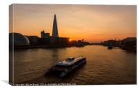 Sunset Cruise on the River Thames, Canvas Print