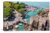 Sirmione harbour and Lake Garda, Canvas Print