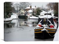 Canal Boats in Winter, Canvas Print