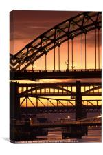 Sunset Through The Bridges at Newcastle, Canvas Print