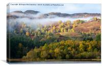Mist shrouded autumn colours on Loch Faskally, Canvas Print