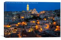 View across Sasso Barisano at night, Canvas Print