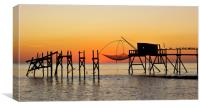 Fishing Hut with Lift Net, Canvas Print