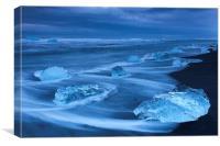 Melting Ice on Iceland Beach , Canvas Print