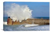 Giant Wave crashing over Jetty, Canvas Print