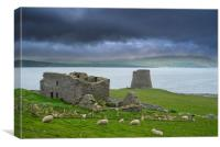 Mousa Broch and The Haa, Shetland, Canvas Print