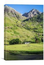 Achnambeithach Cottage in Glen Coe, Scotland, Canvas Print
