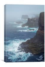 Eshaness in the Mist, Shetland Islands, Scotland, Canvas Print