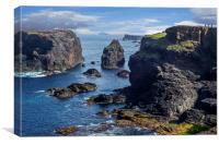 Walkers at Eshaness, Shetland Isles, Scotland, Canvas Print