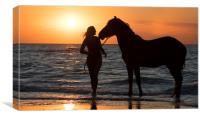 Horse and Woman at Sunset, Canvas Print