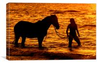 Horse and Rider at Sunset, Canvas Print