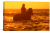 Horsewoman at Sunset, Canvas Print