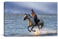 Horse Riding on the Beach, Canvas Print
