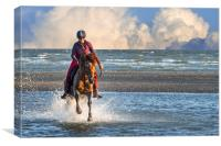 Horse Rider and Storm clouds, Canvas Print