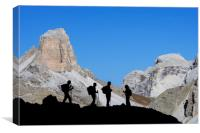 Walkers in the Dolomites, Canvas Print