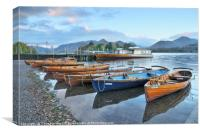 Derwentwater boats at sunrise, Lake District, Canvas Print