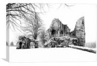 Knaresborough Castle in snow, Canvas Print