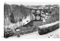 Knaresborough Viaduct in snow, Canvas Print