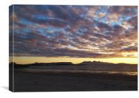 Eigg and Rhum sunset, Camusdarach, Scotland, Canvas Print