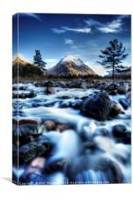 The Alt Fhaolain and Stob na Broige, Glen Etive., Canvas Print