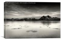 A very still Sound of Raasay and mountains B&W, Canvas Print
