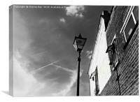 Black and white street light framed photo print, Canvas Print