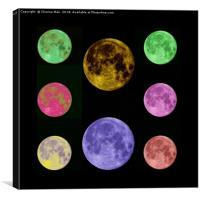 Abstract Full Moon At Night Framed Photo Print, Canvas Print