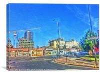 HDR Watercolour London Roads And Cars Framed Photo, Canvas Print