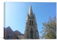 Lewisham Tall Church Spire Building Blue Sky Print, Canvas Print