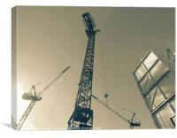 Split Tone Electrical Tower Cranes Of London , Canvas Print