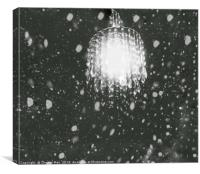 HDR Abstract Digital Snow Fall Chandelier Light , Canvas Print