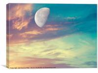 Macro half moon pastel sky, Canvas Print