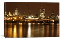 Thames Skyline at Night, Canvas Print