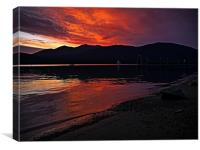 Sunset over lake Wakatipu, queenstown, new zealand, Canvas Print