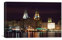 Liverpool Pierhead at Night, Canvas Print