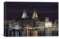 Liverpool Skyline at Night, Canvas Print