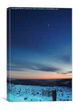 Moon Rise over Curbar, Canvas Print