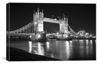Tower Bridge Night bw, Canvas Print