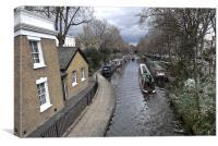 Regents Canal narrow boats, Canvas Print